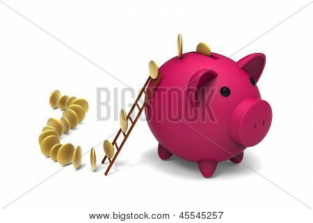 Piggy bank and golden coins