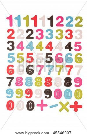 Numbers 1 2 3 4 5 6 7 8 9 0 Plus Minus Multiplication The Division  Symbols With Cliping Path