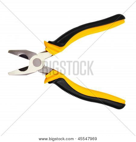 open yellow pliers isolated on white background (clipping path)