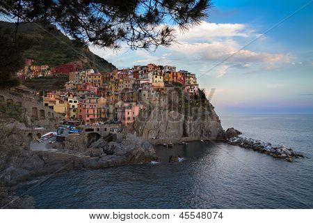 Village Of Manarola With Blue Skies, Cinque Terre, Italy
