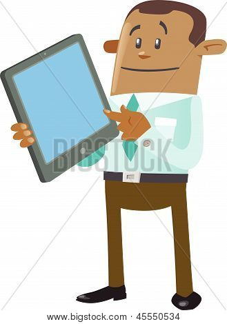 Ethnic Business Buddy With Tablet Computer