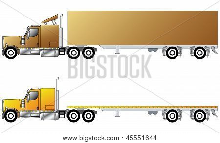 American Conventional Truck With Trailer