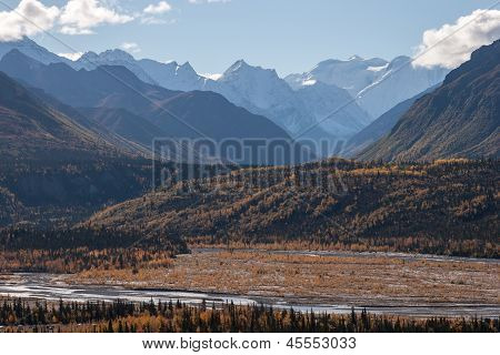 Snow Capped Peaks In Fall
