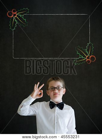 All Ok Boy Business Man With Christmas Holly Checklist