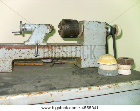 Ancient Old Rusty Turning Lathe Machine Tool