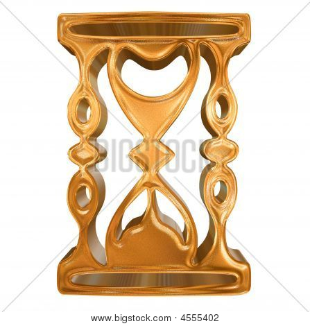 Golden Pattern Hourglass Icon Concept Over White Background