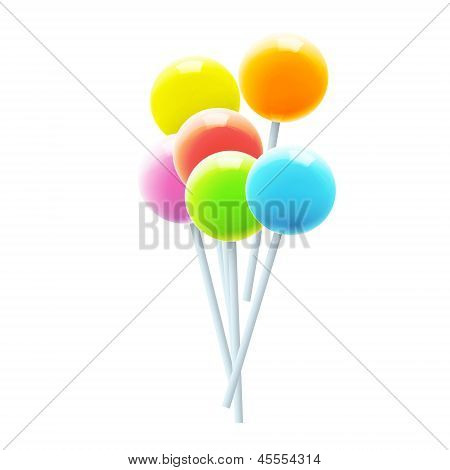 Set Of Colorful Lollipops. Vector Design.