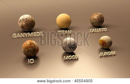 Jupitermoons, The Earth Moon And Titan