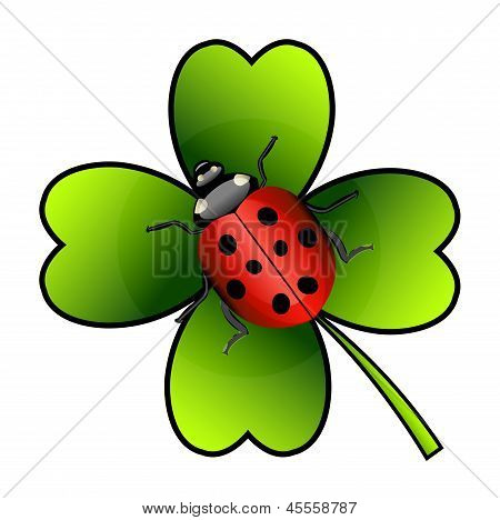 Vector Ladybug On Clover