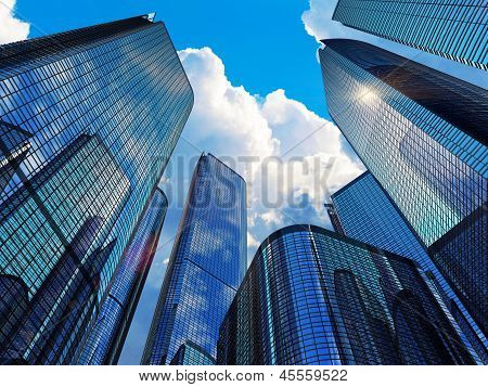 Modern business buildings poster