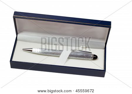 pen silver ballpoint in gift box isolated on white background (c