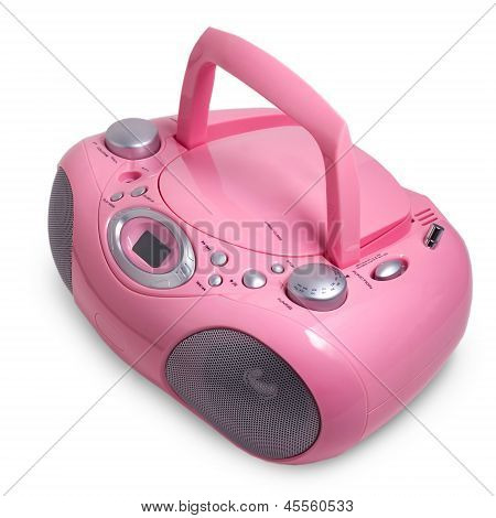 pink mp3 stereo cd radio cassette recorder isolated on a white b