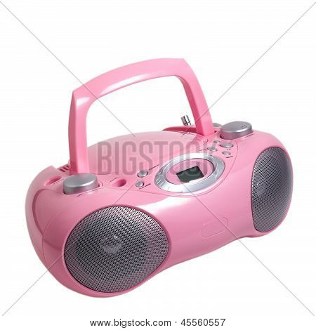 pink stereo cd mp3 radio cassette recorder is isolated on a whit