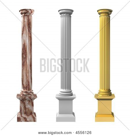 3D Rendered Illustration Of Three Columns