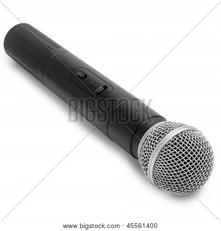 radio black microphone vintage isolated on white background