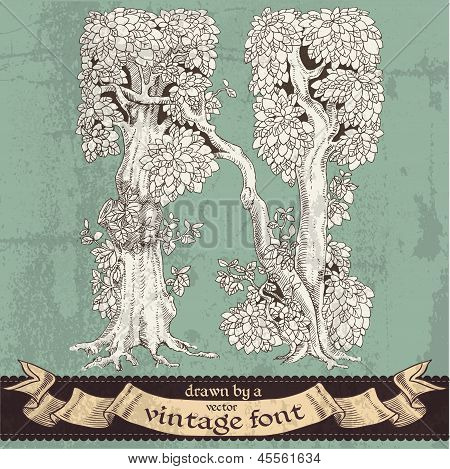Magic grunge forest hand drawn by a vintage font - N