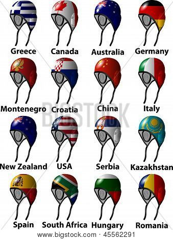 Water Polo Caps With Flags