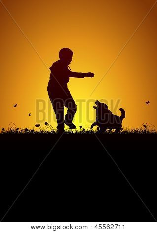 Playing kid and dog