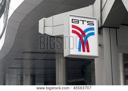 Bangkok, Thailand - Sept 25Th: Bts Sign Outside Asoke Skytrain Station On September 25Th 2012. Bts,