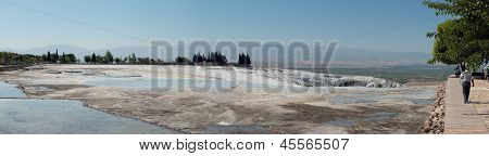 Panoramic View Of Travertine Pools That Are Drying Up In Pamukkale, Turkey.