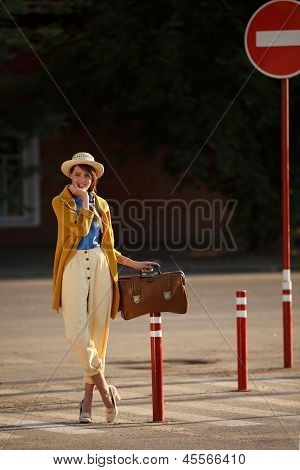 Young Happy Funny Dressed Woman