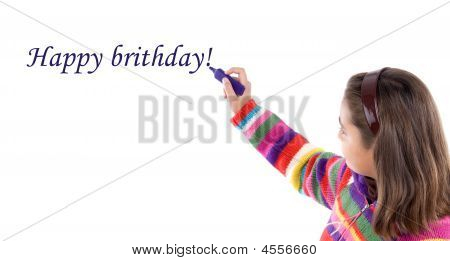 Adorable Girl Writing With Fluorescent Happy Bithday