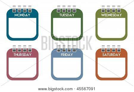 Week day calendar sheets