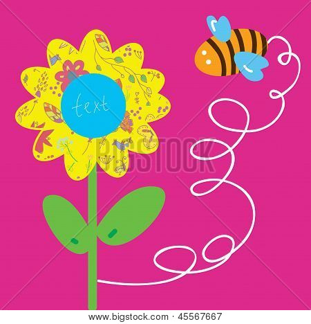 Bee and flower greeting baby card