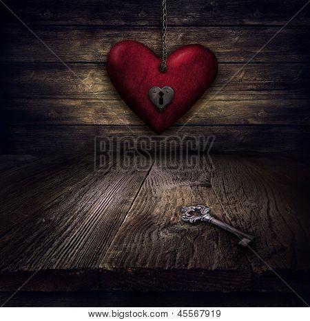Diseño de tarjetas de San Valentín - corazón encadenado