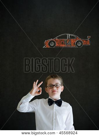 All Ok Boy Business Man With Racing Fan Car
