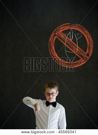 Thumbs Down Boy Business Man With  No Bombs War Pacifist Sign
