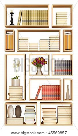 Wall Bookcase Isolated On White
