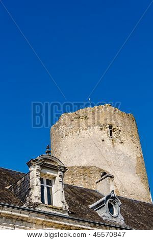 Mansard roof and tower of the medieval castle