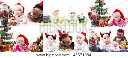 Collage Of Santa Baby Girl And Toy In Christmas On Isolated White Background. The Concept Of Childho