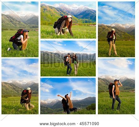 Collage Of Climber Woman With Backpack In  Mountains  Against  Blue Sky In Akbulak,almaty, Kazakhsta