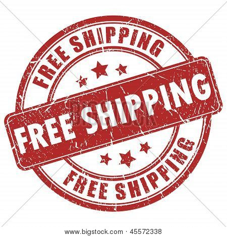 Vector free shipping red stamp