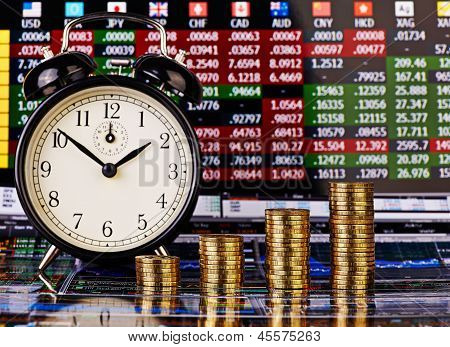 Uptrend Stacks Of Golden Coins, Clock And Financial Chart As Background. Selective Focus.