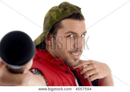 Young Caucasian Offering His Microphone