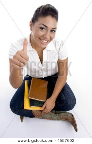 Teenager Pretty Girl Posing With Thumbs Up