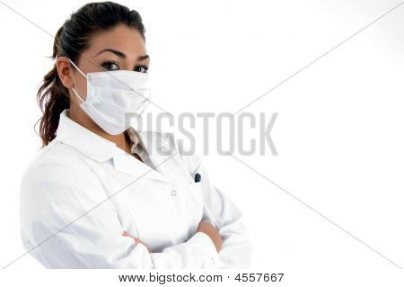 Side View Of Doctor With Mask On Her Mouth