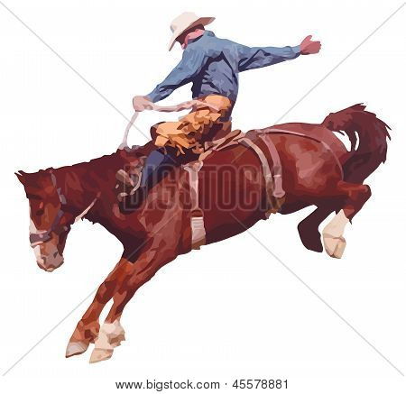 Cowboy riding horse at rodeo.
