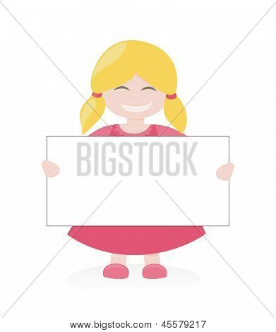 Happy kid with a banner. Vector blond hostess girl smiling, holding and showing big empty page add