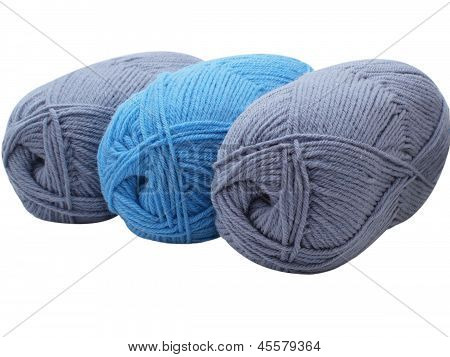Three Skeins Of Yarn On White Background