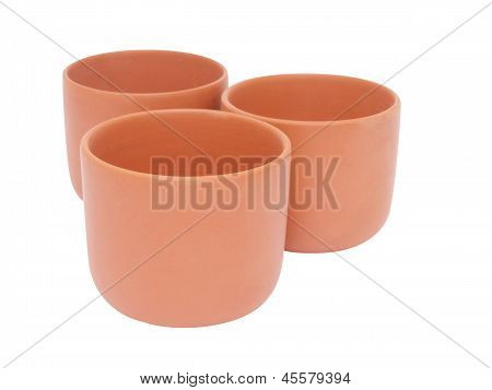Three Brown Cups For Tea