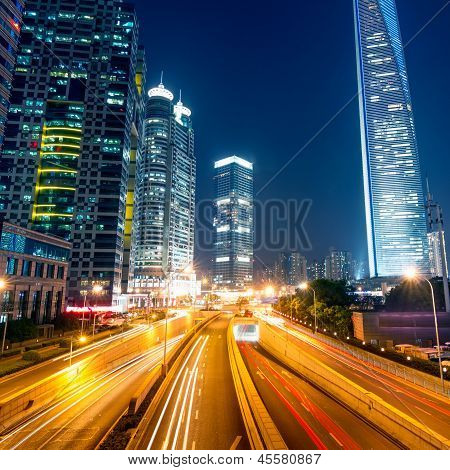 Light Trails On The Street With Modern Building