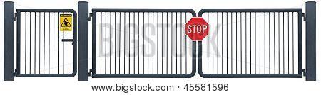 Grunge Aged verwittert Road Barrier Gate Stoppschild, gelbe Wachmann Patrol Warnung Signage, alte