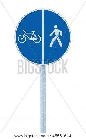 Bicycle And Pedestrian Lane Road Sign On Pole Post, Large Blue Round Isolated Bike Cycling Walking