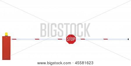 Gated Road Barrier Closeup, Roadway Gate Bar, Stop Sign, Closed, Isolated