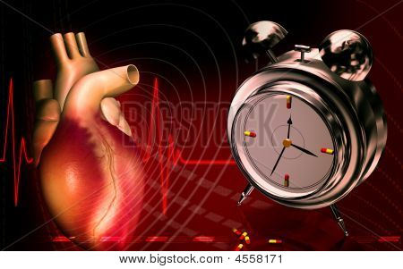 Heart With Alarm Clock