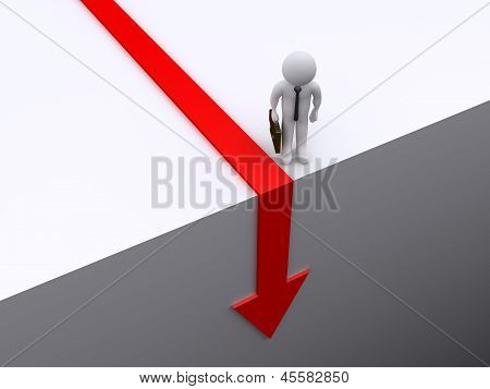 Businessman Is Looking Down At Arrow